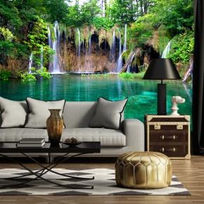 Fototapeta turkusowy wodospad nr F213011