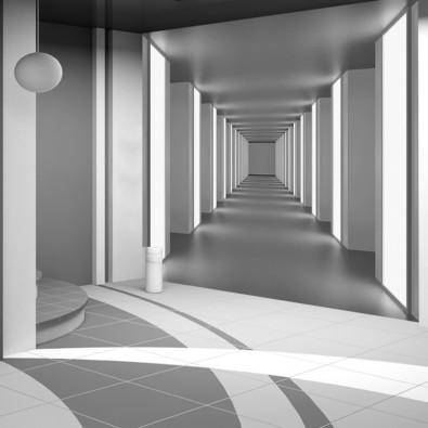 Fototapeta Świetlisty tunel - czerń i biel nr F213144