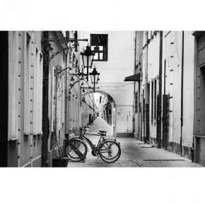 Fototapeta Rower w uliczce w czerni i bieli nr F213229